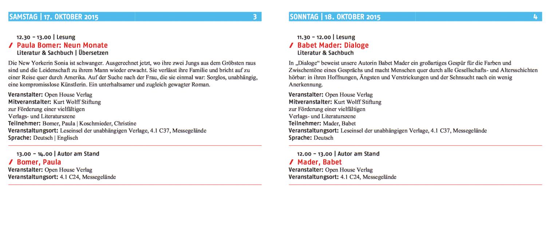 Frankfurter Buchmesse 2015 Veranstaltungen